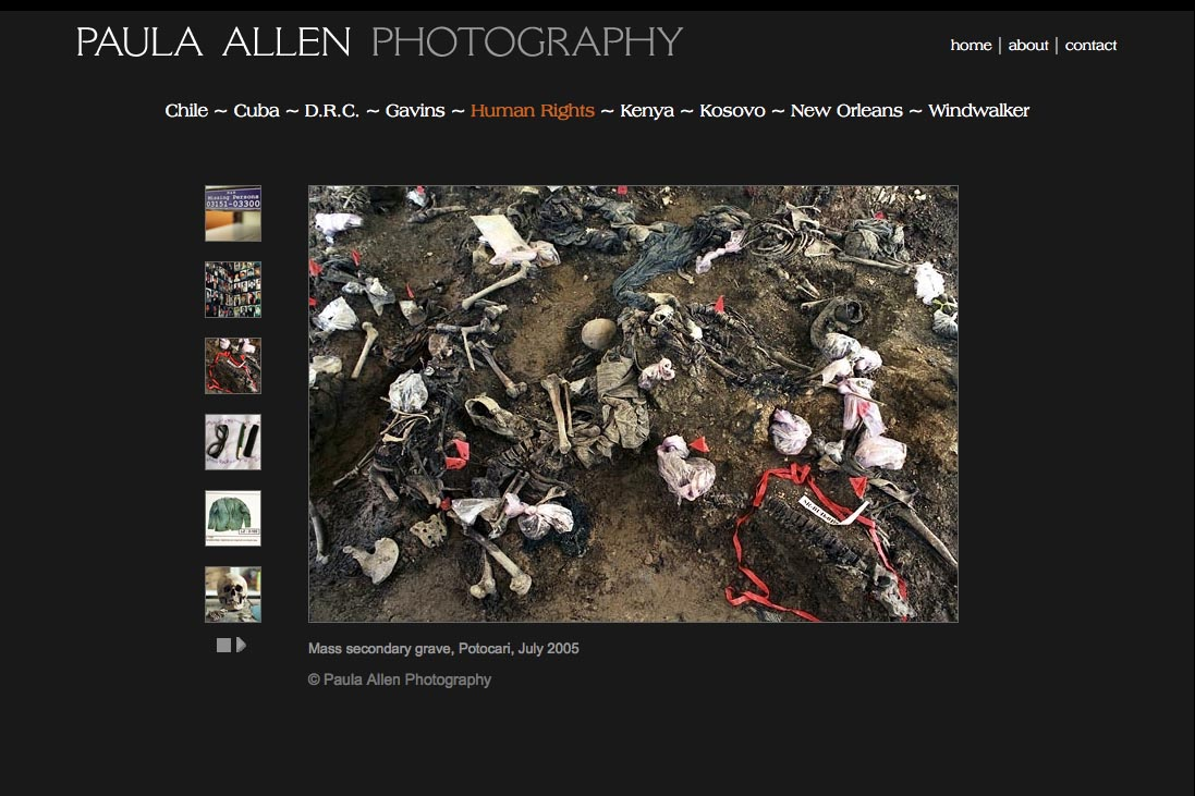 web design for a social documentary photographer - srebrenica portfolio page
