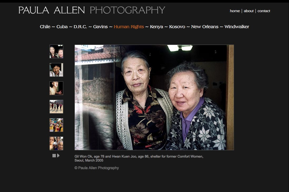 web design for a social documentary photographer - comfort women portfolio page