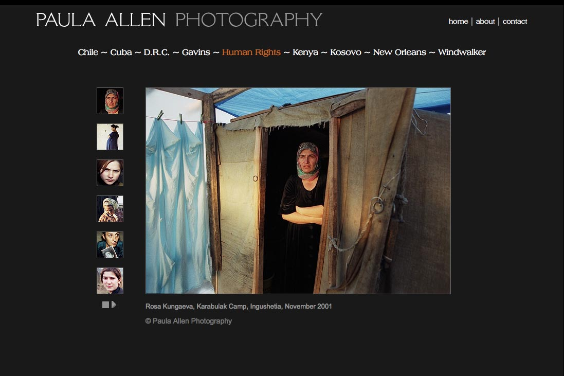 web design for a social documentary photographer - ingushetia portfolio page