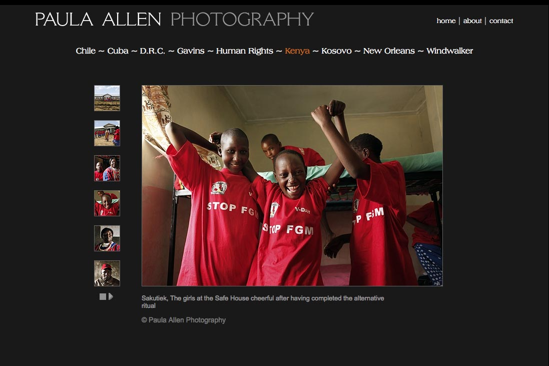 web design for a social documentary photographer - kenya portfolio page