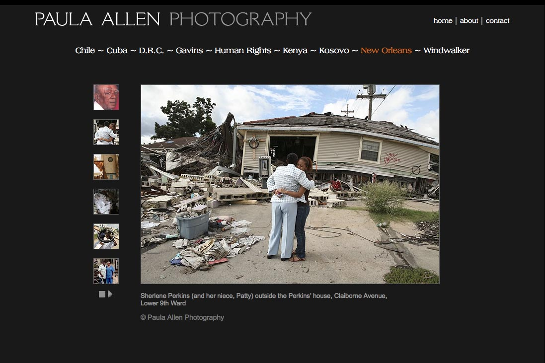 web design for a social documentary photographer - new orleans portfolio page