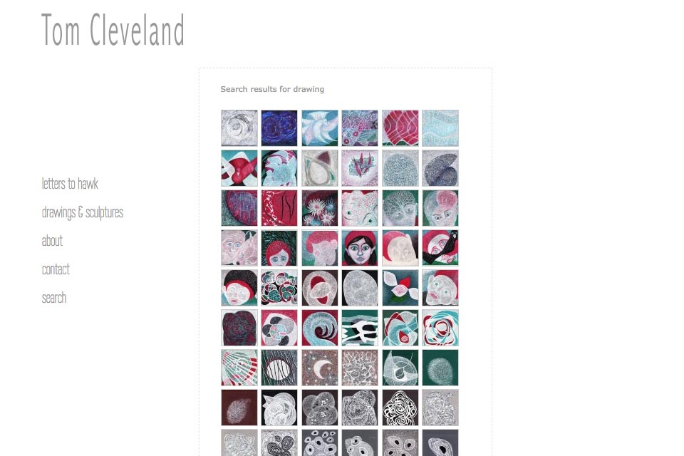 web design for an artist - Tom Cleveland - search drawings page