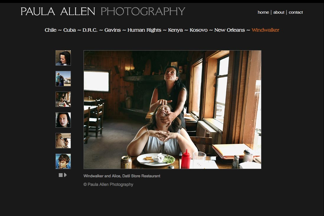 web design for a social documentary photographer - windwalker portfolio page