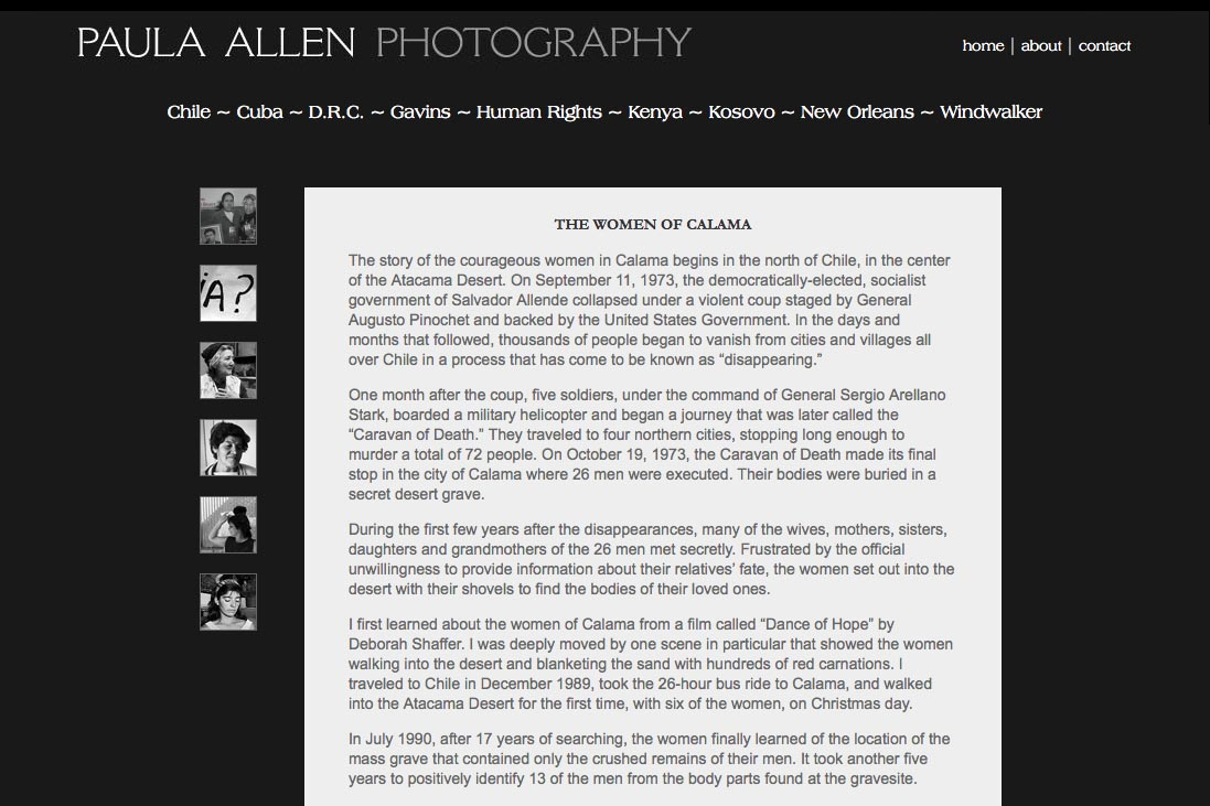 web design for a social documentary photographer - chile portfolio statement page
