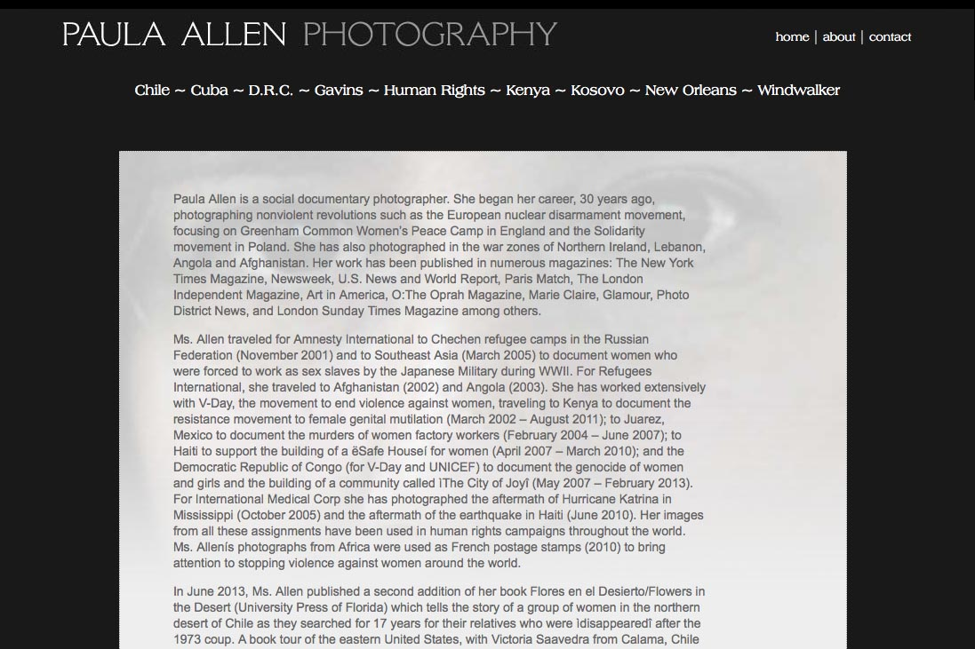 web design for a social documentary photographer - about page
