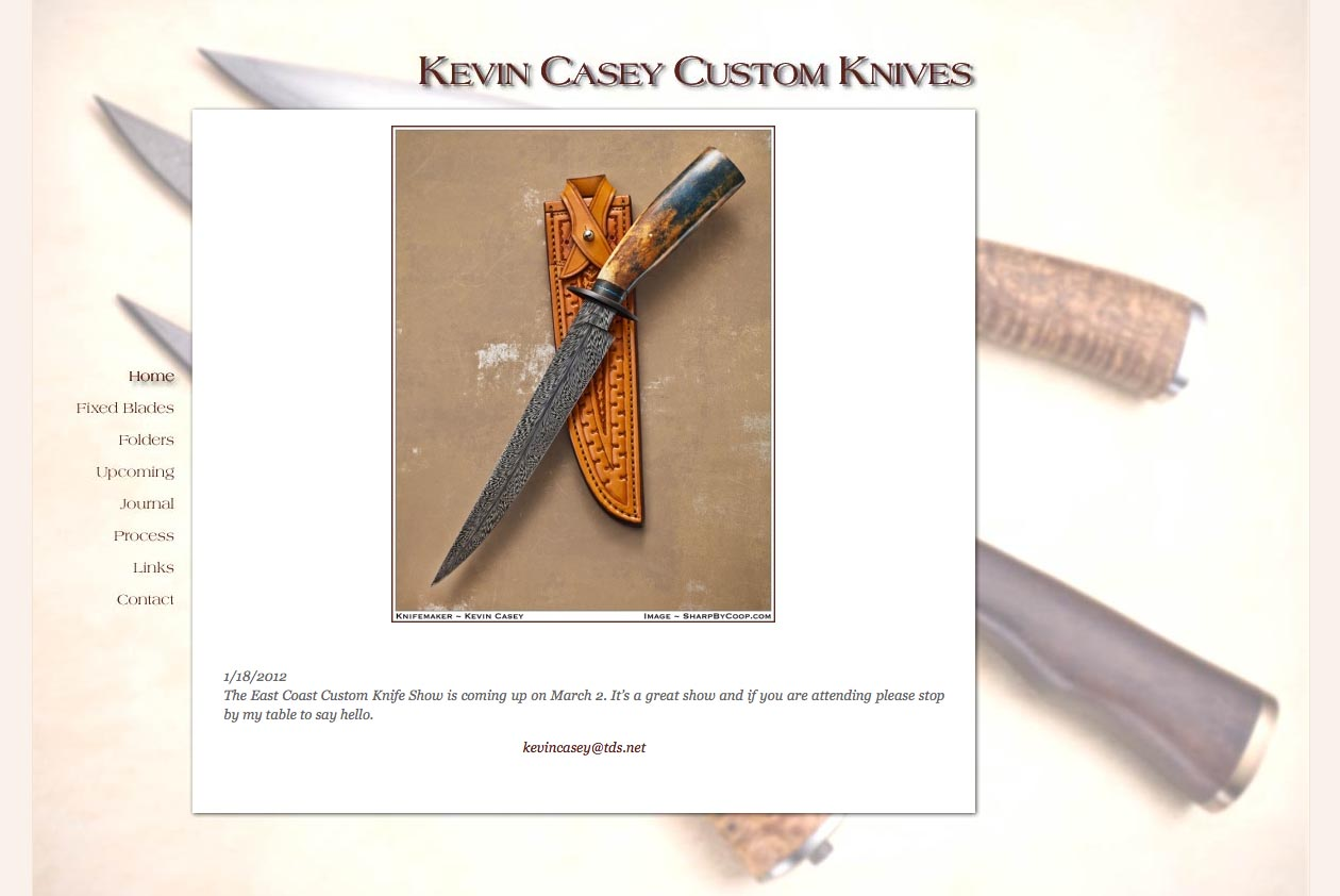 web design for a custom knife craftsman