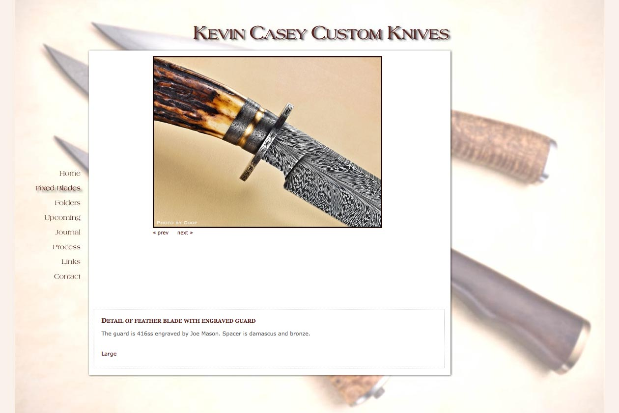 web design for a custom knife craftsman - Kevin Casey - fixed blade knife portfolio page