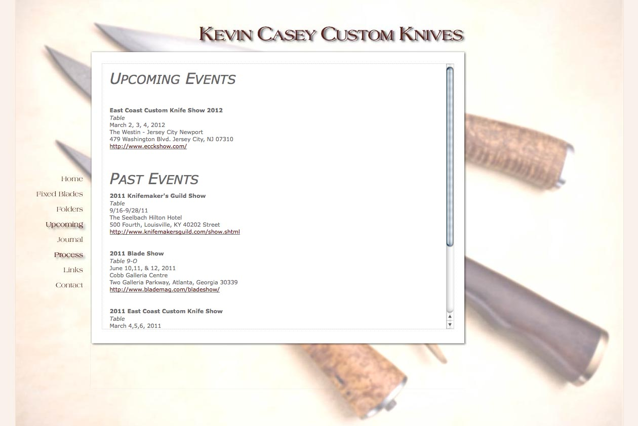 web design for a custom knife craftsman - Kevin Casey - upcoming events page