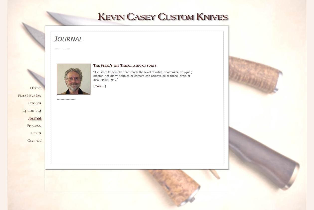 web design for a custom knife craftsman - journal page