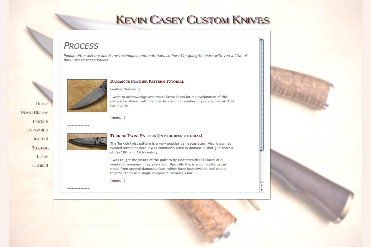 web design for a custom knife craftsman - process page
