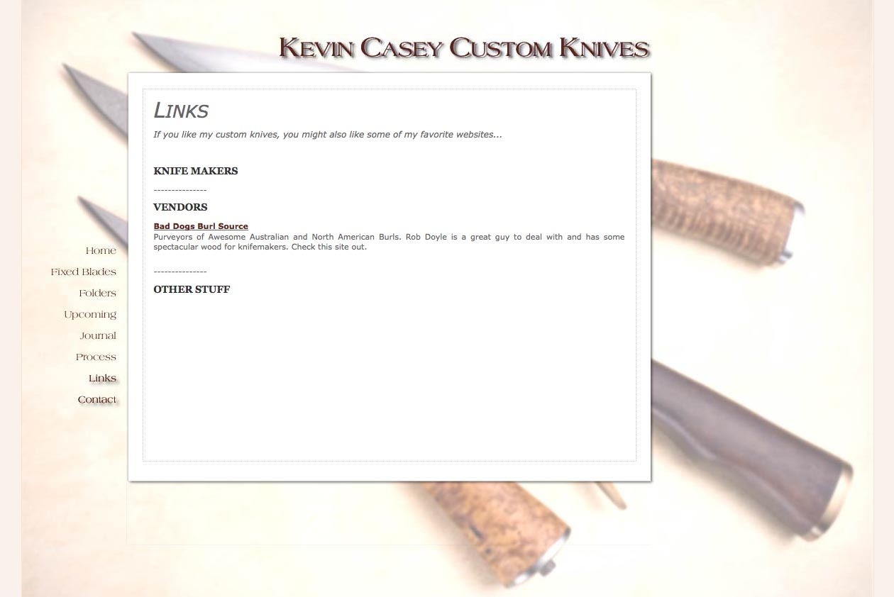 web design for a custom knife craftsman - links page