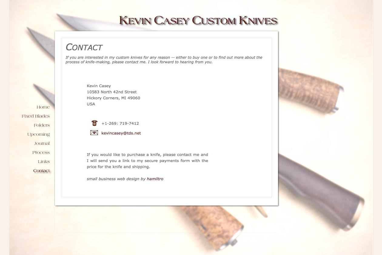 web design for a custom knife craftsman - contact page