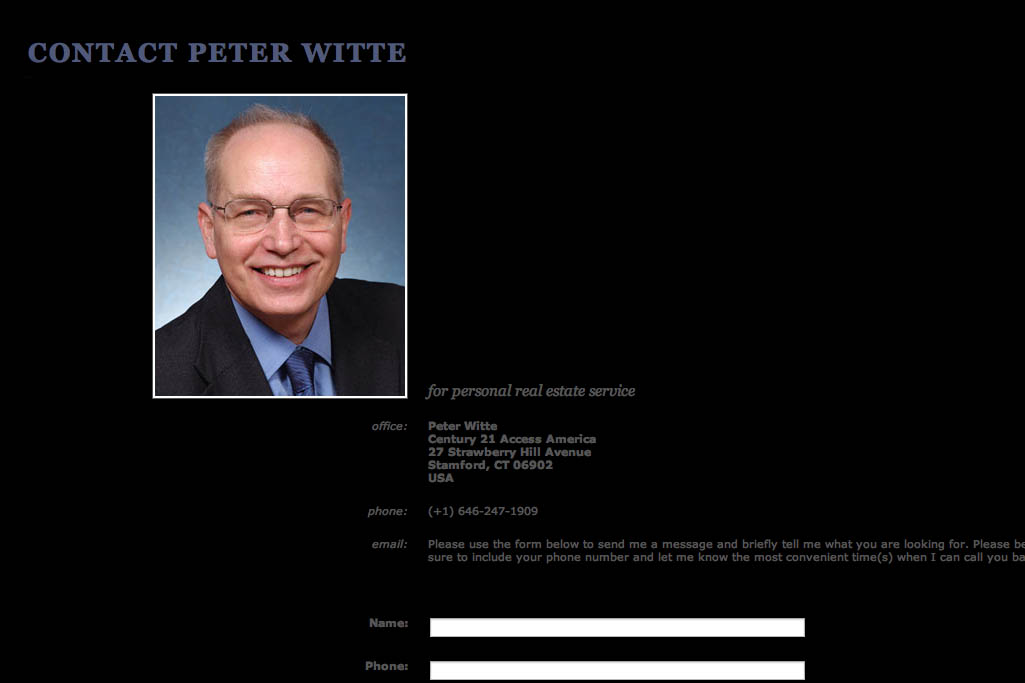 web design for a real estate consultant - contact page
