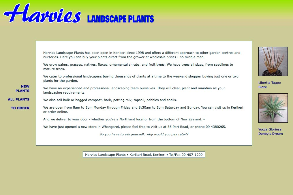 web design for a plant nursery - home page