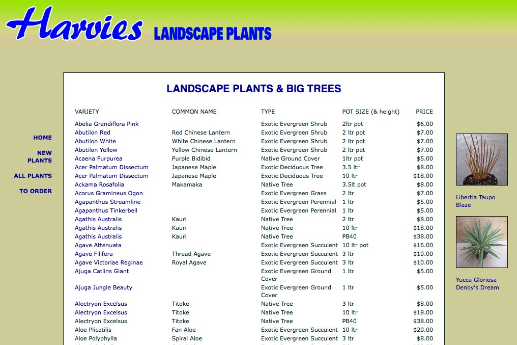 web design for a plant nursery - all plants page