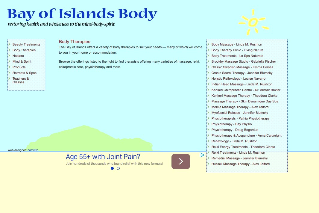 web design for holistic services in a local community - body therapies page