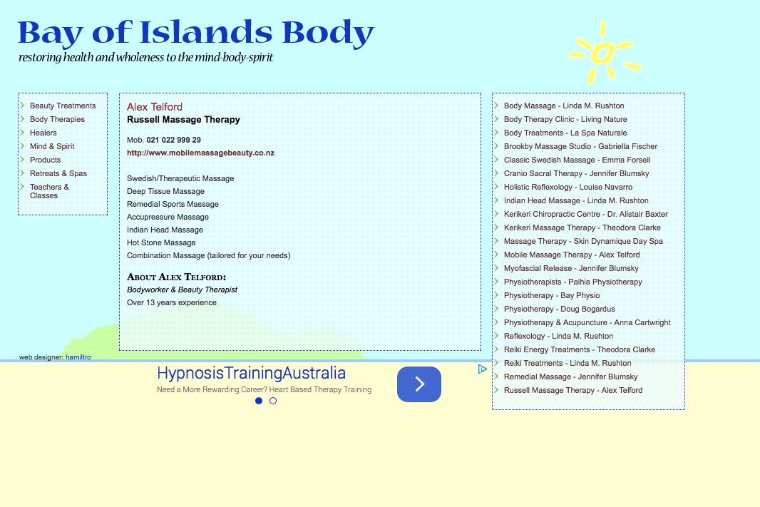 web design for holistic services in a local community - body therapies single page