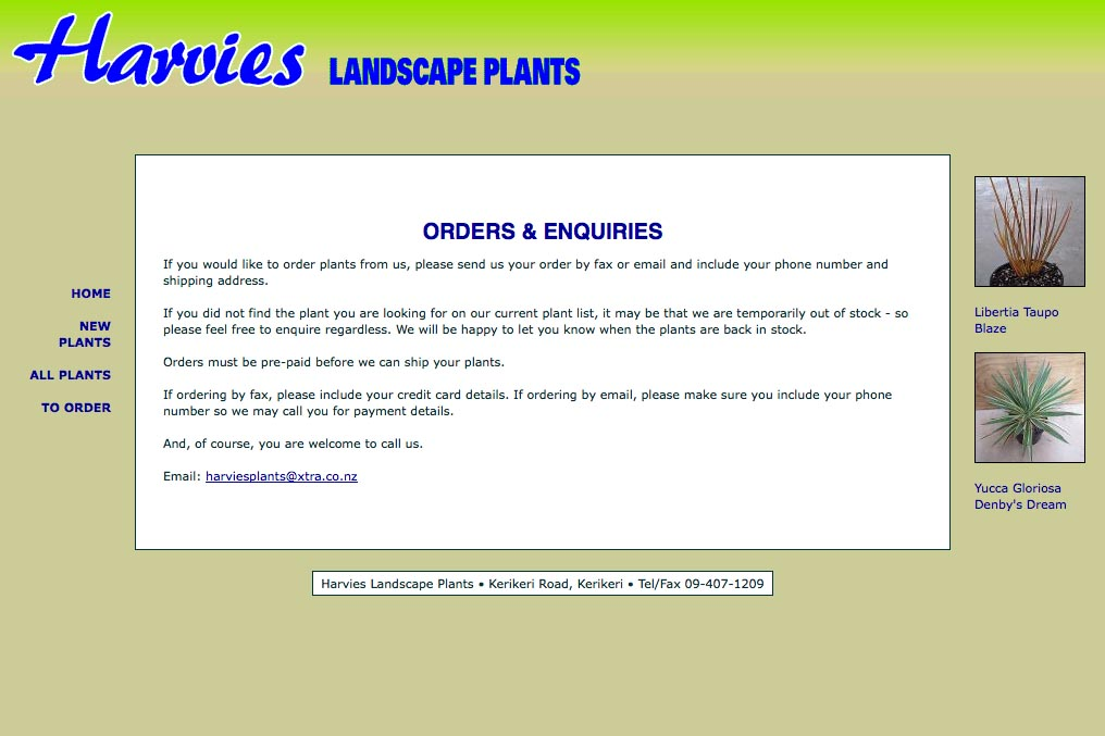 web design for a plant nursery - orders page