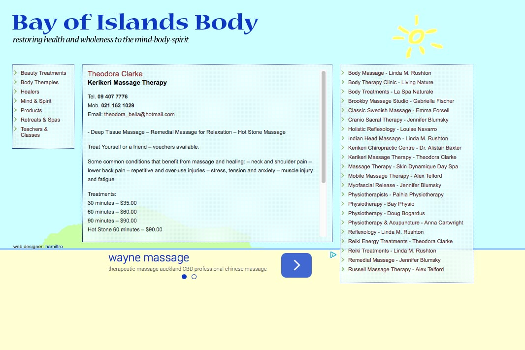 web design for holistic services in a local community - therapist page