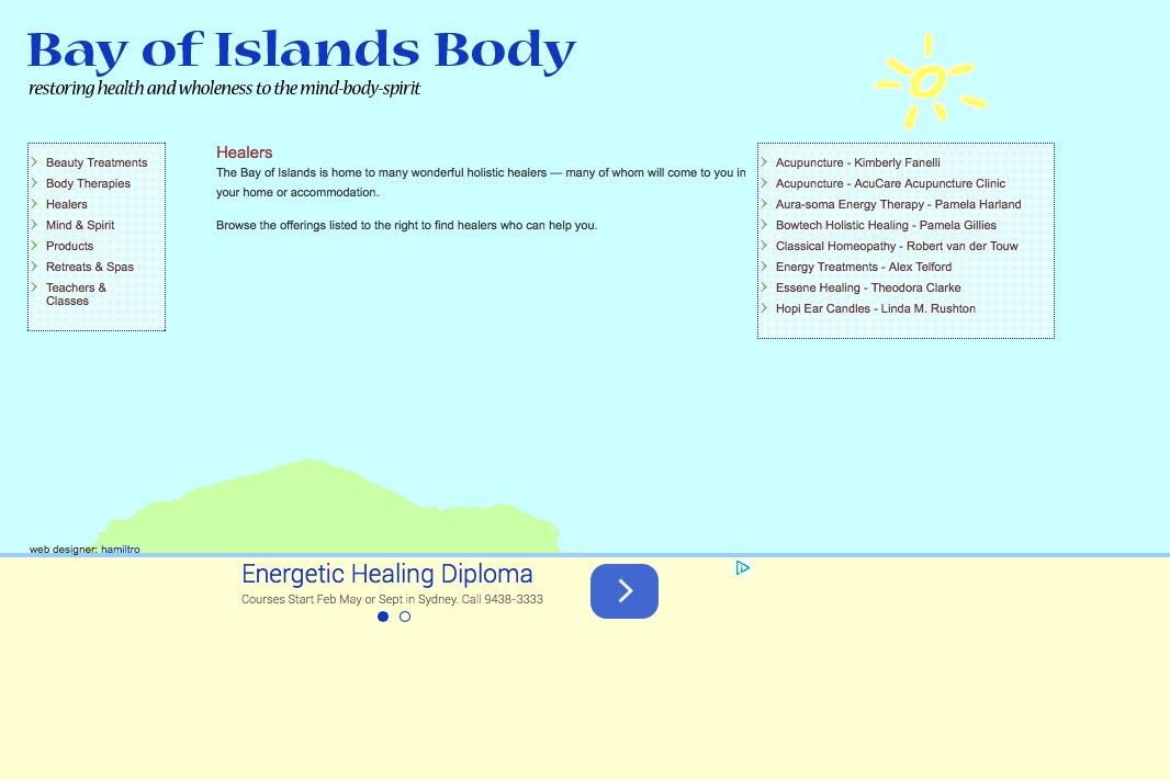 web design for holistic services in a local community - healers list page