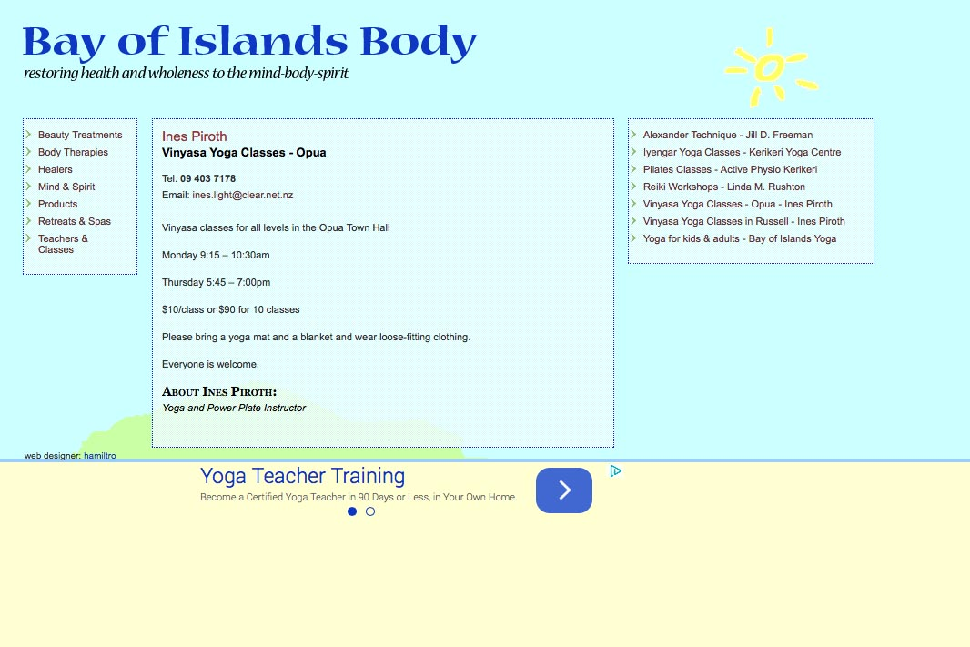 web design for holistic services in a local community - yoga teacher page