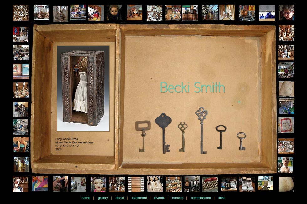 web design for an assemblage artist - Becki Smith