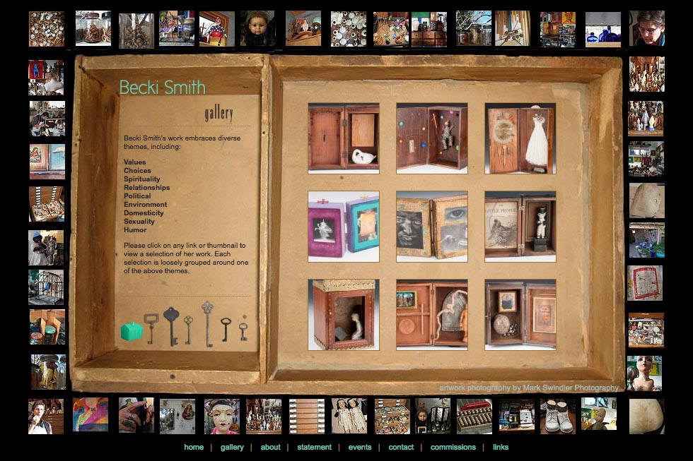 web design for an assemblage artist - Becki Smith - gallery page