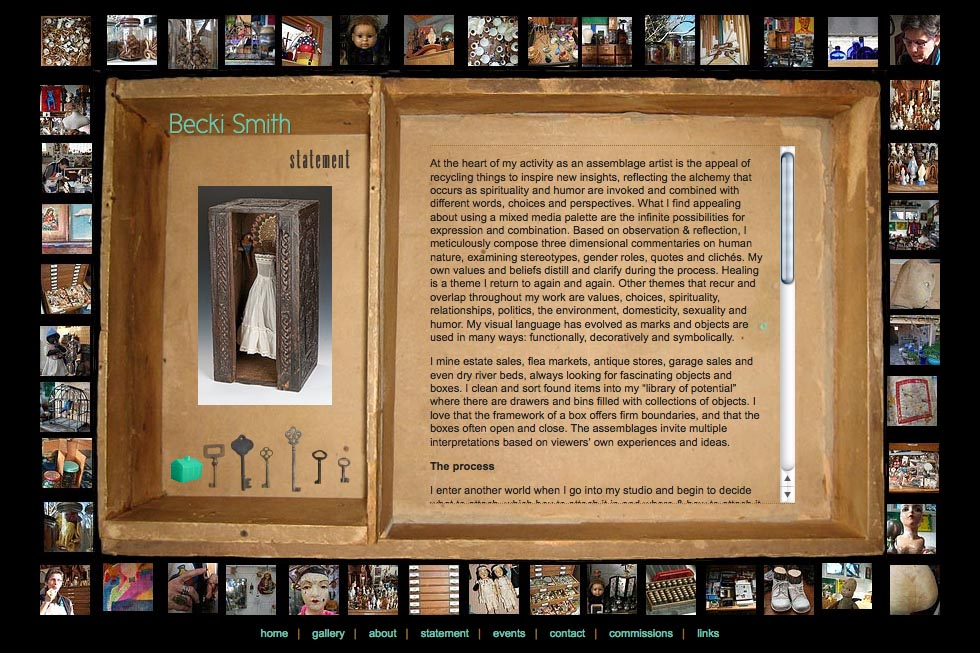 web design for an assemblage artist - Becki Smith - statement page