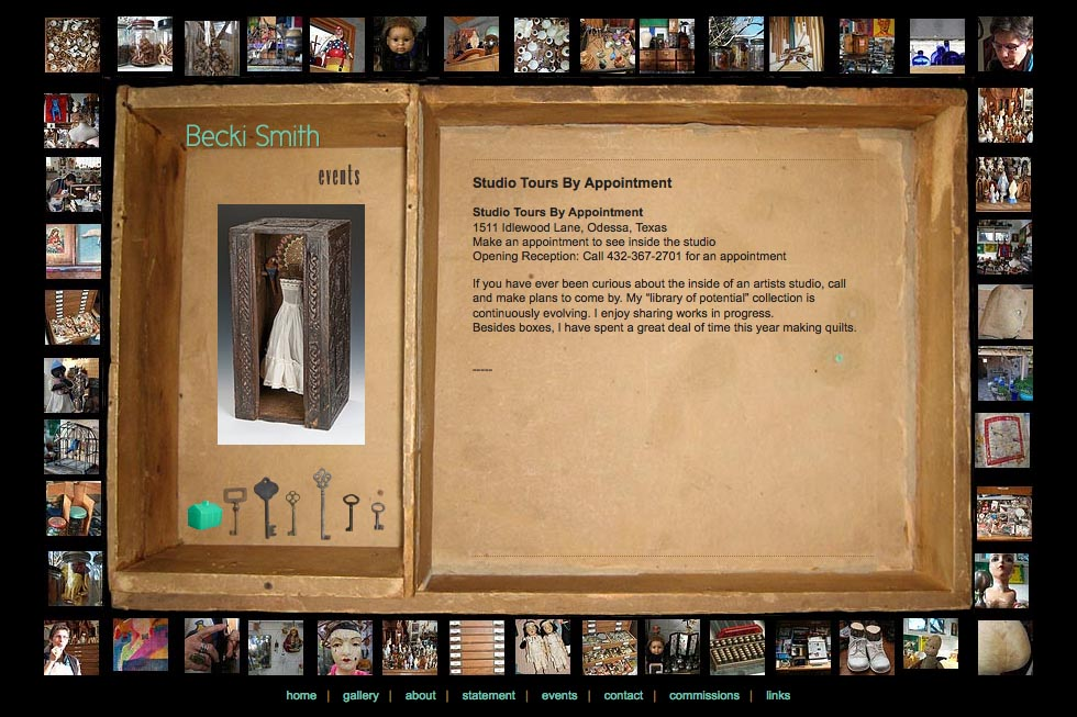 web design for an assemblage artist - Becki Smith - events page