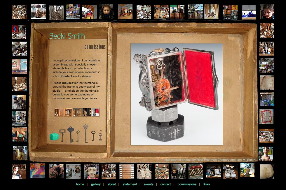 web design for an assemblage artist - Becki Smith - commissions page
