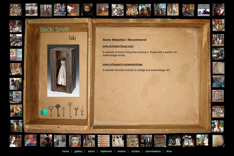 web design for an assemblage artist - Becki Smith - links page
