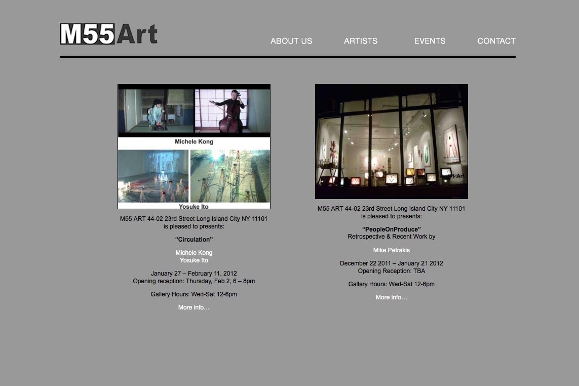 web design for a new york art gallery - M55 Gallery