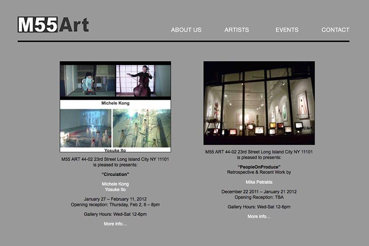 web design for an art gallery in New York