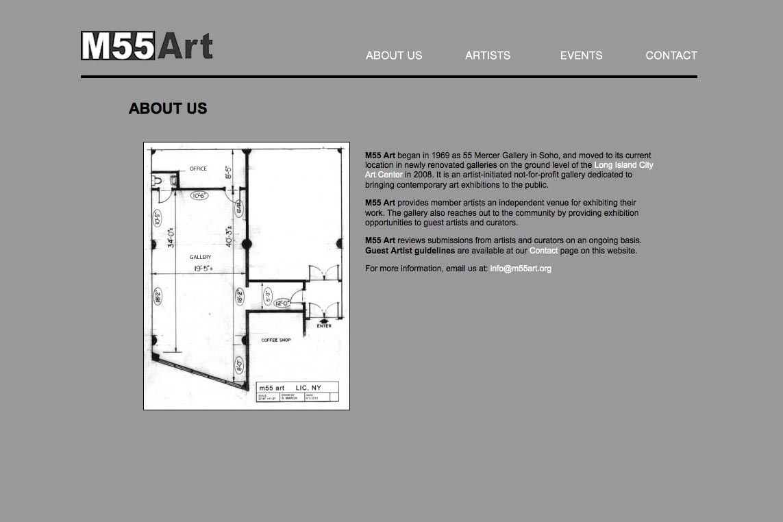web design for a new york art gallery - about us page