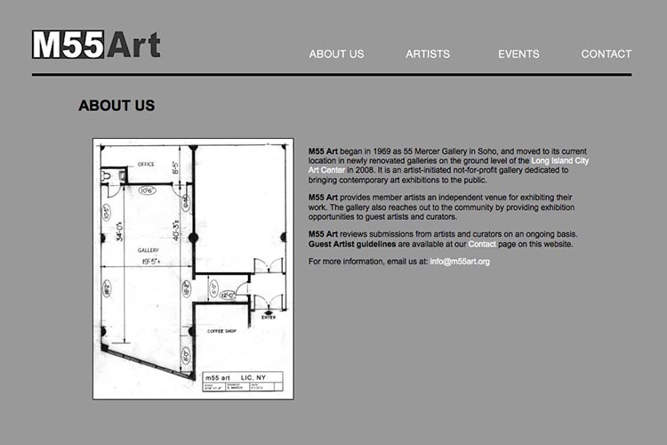 web design for an art gallery in New York - about page