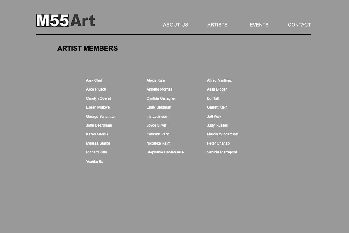 web design for a new york art gallery - artist members index page