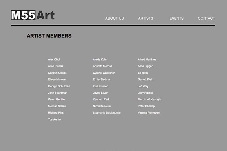 web design for an art gallery in New York - members page
