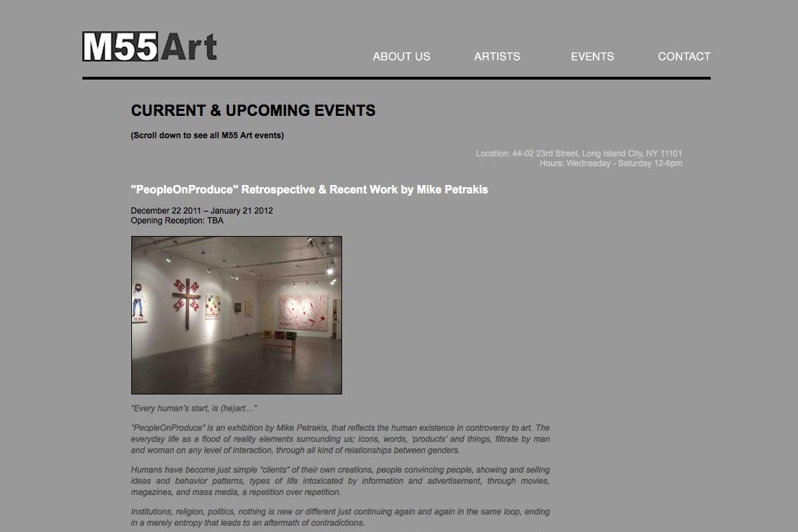 web design for a new york art gallery - events page