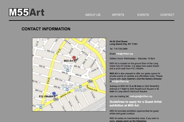 web design for an art gallery in New York - contact page