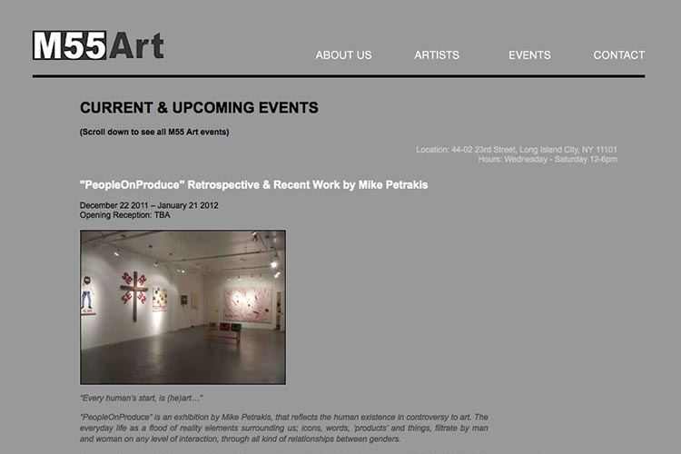 web design for an art gallery in New York - events page