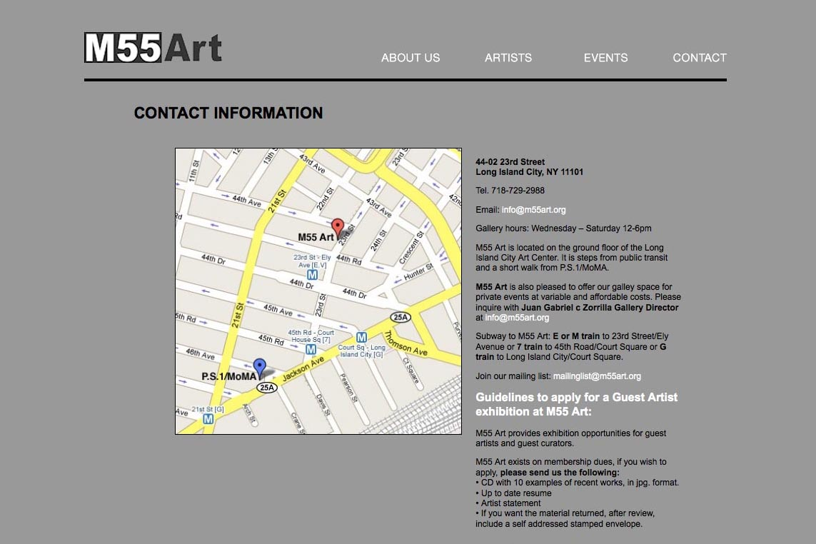 web design for a new york art gallery - contact page