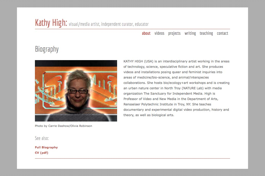 web design for a new media artist - Kathy High - about page