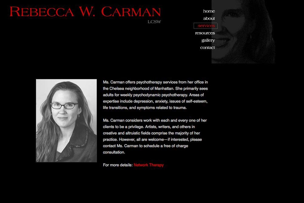 web design for a therapist, writer and photographer - services page
