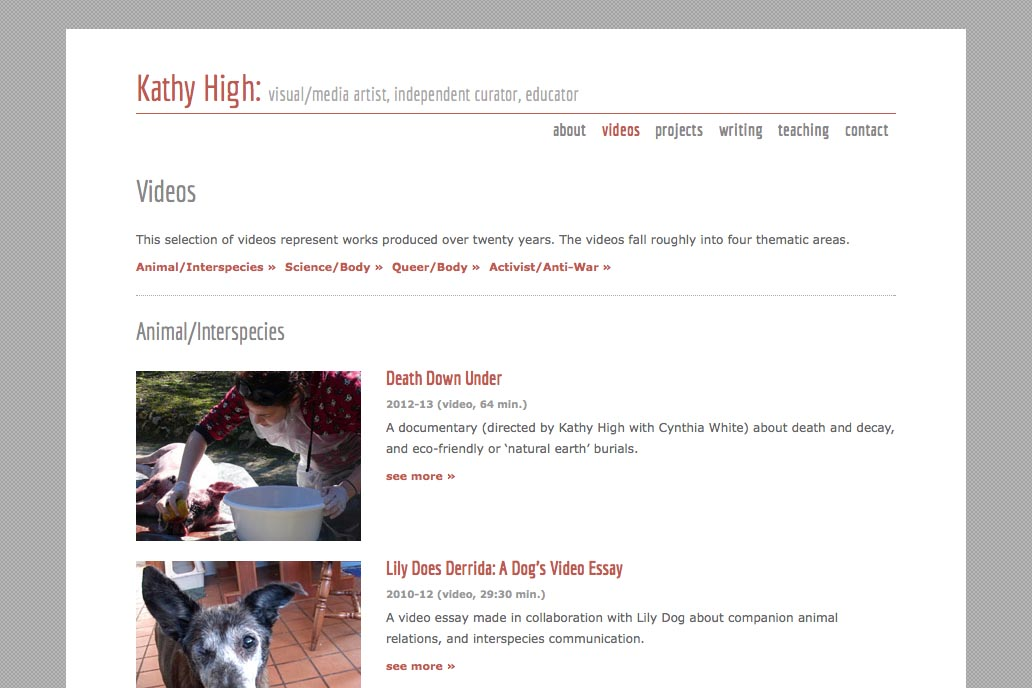 web design for a new media artist - Kathy High - videos index page