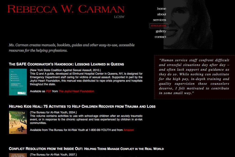 web design for a therapist, writer and photographer - resources page