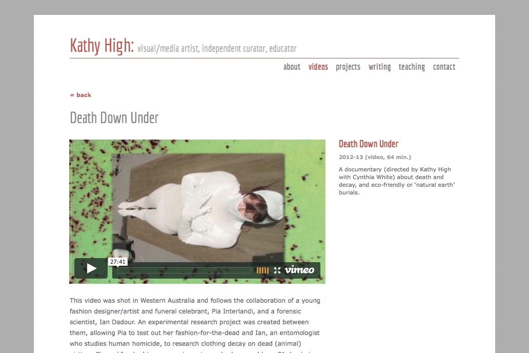 web design for a new media artist - Kathy High- videos single page