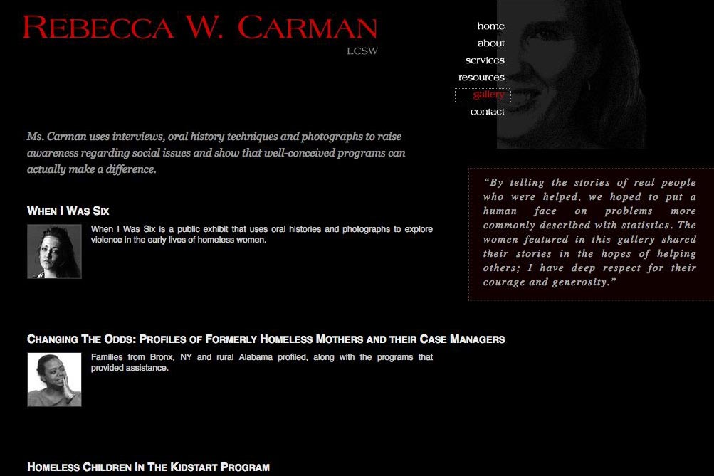 web design for a therapist, writer and photographer - gallery page