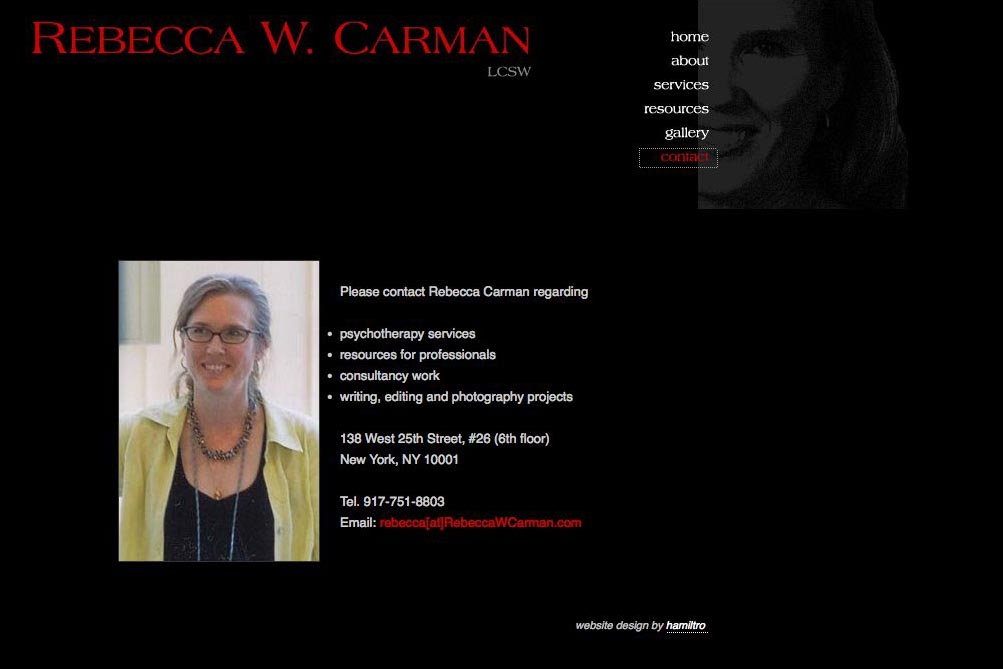web design for a therapist, writer and photographer - contact page