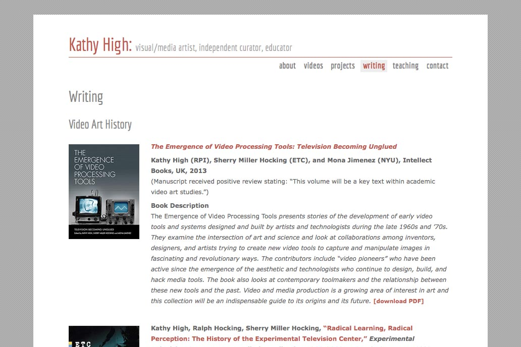 web design for a new media artist - Kathy High - writing page