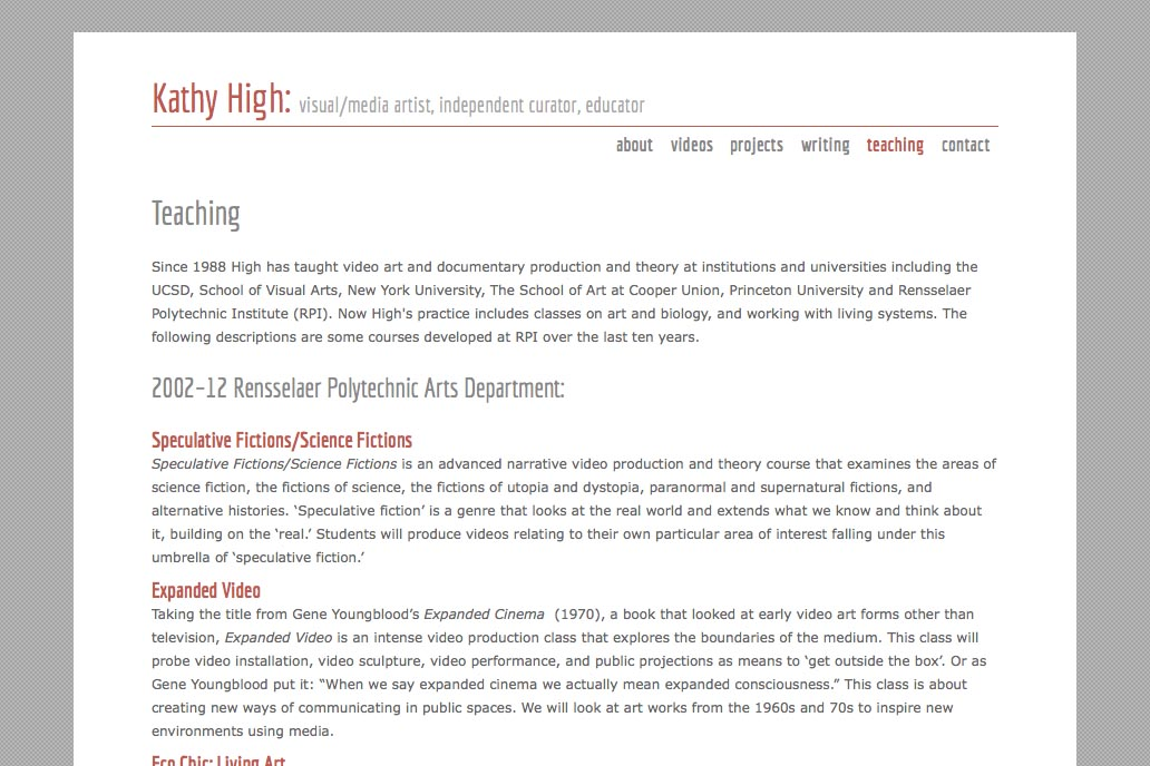 web design for a new media artist - teaching page
